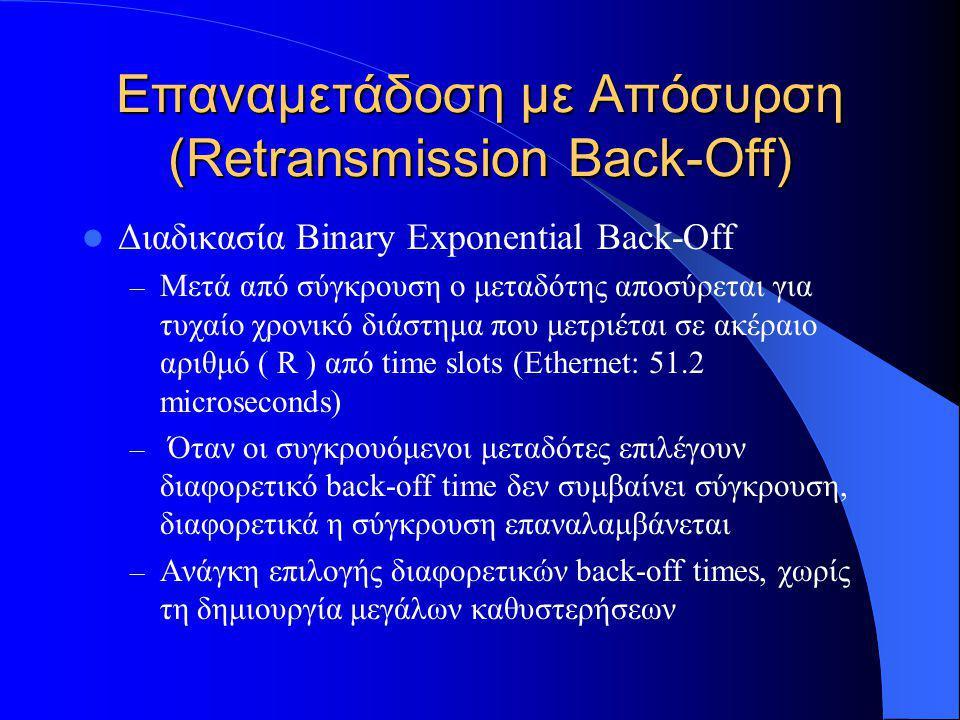 Επαναμετάδοση με Απόσυρση (Retransmission Back-Off)  Διαδικασία Binary Exponential Back-Off – Μετά από σύγκρουση ο μεταδότης αποσύρεται για τυχαίο χρονικό διάστημα που μετριέται σε ακέραιο αριθμό ( R ) από time slots (Ethernet: 51.2 microseconds) – Όταν οι συγκρουόμενοι μεταδότες επιλέγουν διαφορετικό back-off time δεν συμβαίνει σύγκρουση, διαφορετικά η σύγκρουση επαναλαμβάνεται – Ανάγκη επιλογής διαφορετικών back-off times, χωρίς τη δημιουργία μεγάλων καθυστερήσεων
