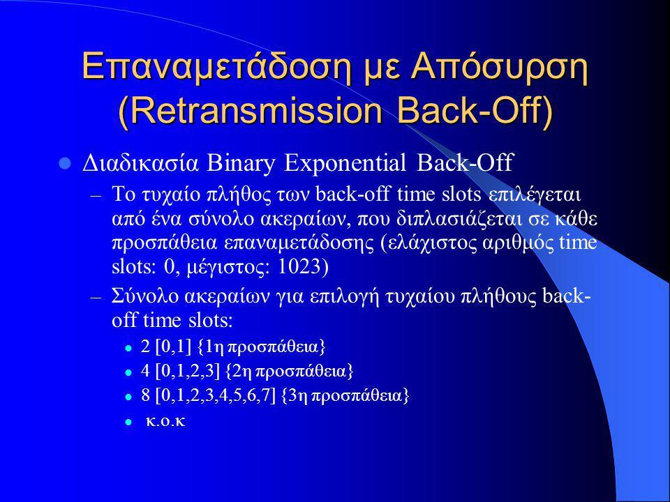 Επαναμετάδοση με Απόσυρση (Retransmission Back-Off)  Διαδικασία Binary Exponential Back-Off – Το τυχαίο πλήθος των back-off time slots επιλέγεται από ένα σύνολο ακεραίων, που διπλασιάζεται σε κάθε προσπάθεια επαναμετάδοσης (ελάχιστος αριθμός time slots: 0, μέγιστος: 1023) – Σύνολο ακεραίων για επιλογή τυχαίου πλήθους back- off time slots:  2 [0,1] {1η προσπάθεια}  4 [0,1,2,3] {2η προσπάθεια}  8 [0,1,2,3,4,5,6,7] {3η προσπάθεια}  κ.ο.κ