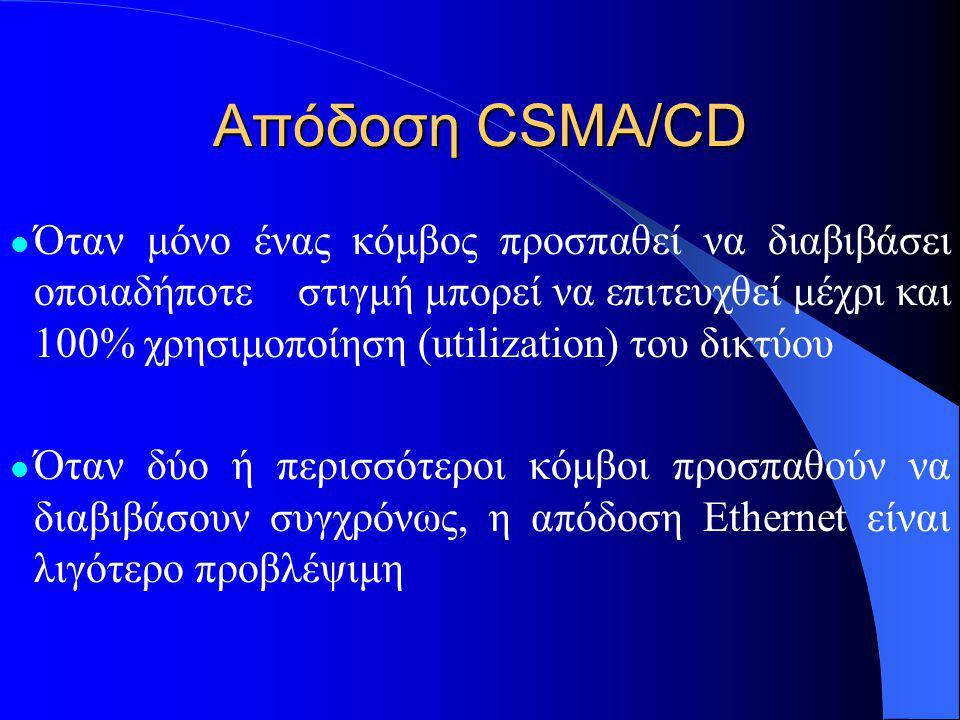 Απόδοση CSMA/CD  Όταν μόνο ένας κόμβος προσπαθεί να διαβιβάσει οποιαδήποτεστιγμή μπορεί να επιτευχθεί μέχρι και 100% χρησιμοποίηση (utilization) του δικτύου  Όταν δύο ή περισσότεροι κόμβοι προσπαθούν να διαβιβάσουν συγχρόνως, η απόδοση Ethernet είναι λιγότερο προβλέψιμη
