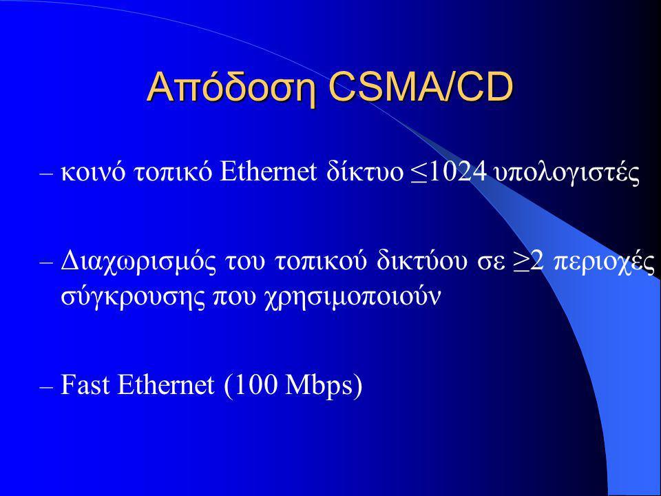 Απόδοση CSMA/CD – κοινό τοπικό Ethernet δίκτυο ≤1024 υπολογιστές – Διαχωρισμός του τοπικού δικτύου σε ≥2 περιοχές σύγκρουσης που χρησιμοποιούν – Fast Ethernet (100 Mbps)