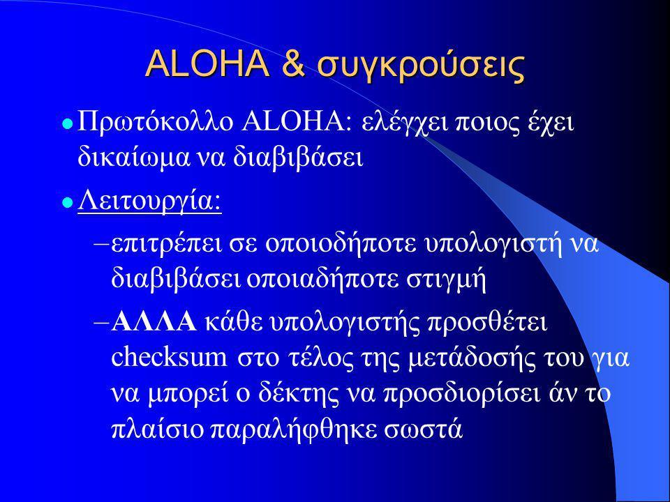 ALOHA & συγκρούσεις  Πρωτόκολλο ALOHA: ελέγχει ποιος έχει δικαίωμα να διαβιβάσει  Λειτουργία: –επιτρέπει σε οποιοδήποτε υπολογιστή να διαβιβάσει οποιαδήποτε στιγμή –ΑΛΛΑ κάθε υπολογιστής προσθέτει checksum στο τέλος της μετάδοσής του για να μπορεί ο δέκτης να προσδιορίσει άν το πλαίσιο παραλήφθηκε σωστά