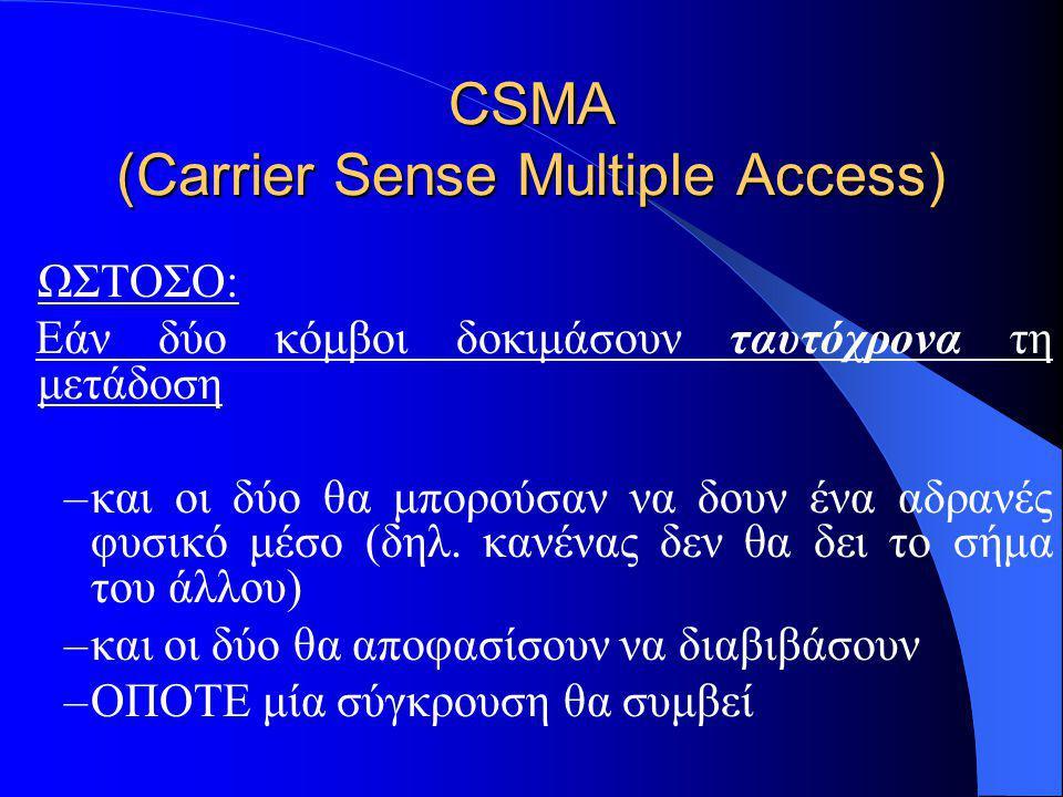 CSMA (Carrier Sense Multiple Access) ΩΣΤΟΣΟ: Εάν δύο κόμβοι δοκιμάσουν ταυτόχρονα τη μετάδοση –και οι δύο θα μπορούσαν να δουν ένα αδρανές φυσικό μέσο (δηλ.