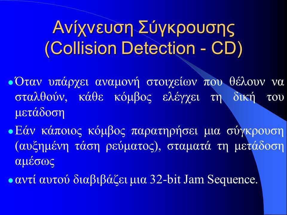 Ανίχνευση Σύγκρουσης (Collision Detection - CD)  Όταν υπάρχει αναμονή στοιχείων που θέλουν να σταλθούν, κάθε κόμβος ελέγχει τη δική του μετάδοση  Εάν κάποιος κόμβος παρατηρήσει μια σύγκρουση (αυξημένη τάση ρεύματος), σταματά τη μετάδοση αμέσως  αντί αυτού διαβιβάζει μια 32-bit Jam Sequence.