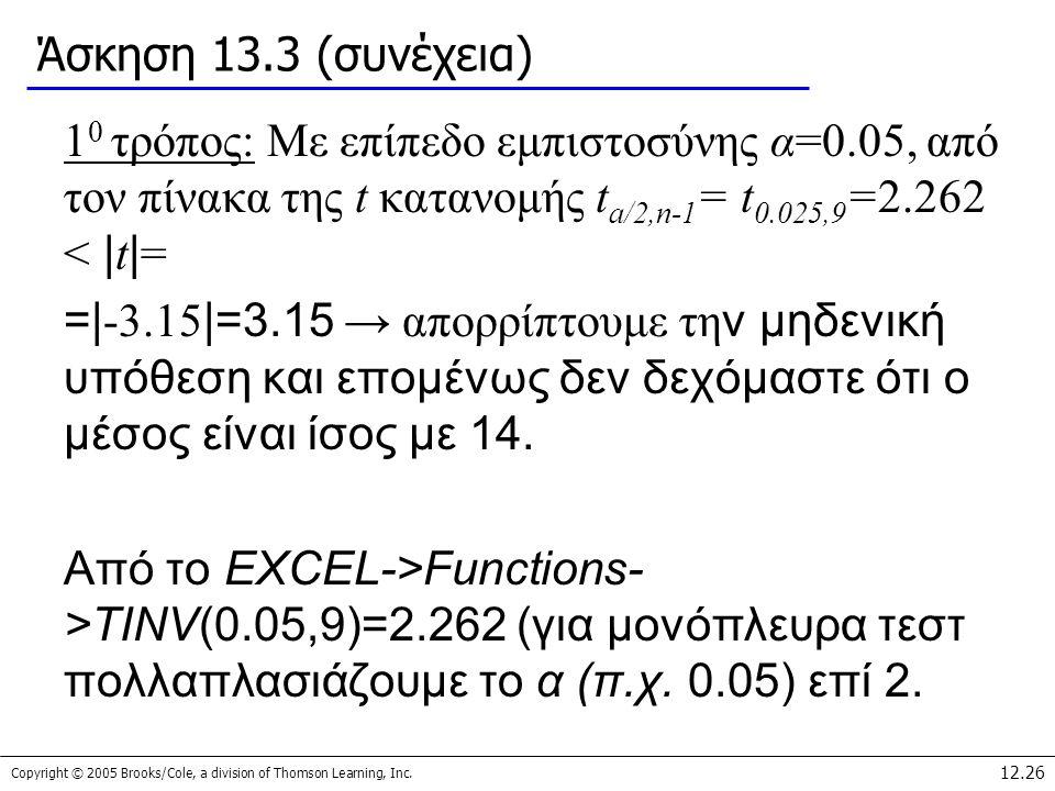 Copyright © 2005 Brooks/Cole, a division of Thomson Learning, Inc. 12.26 Άσκηση 13.3 (συνέχεια) 1 0 τρόπος: Με επίπεδο εμπιστοσύνης α=0.05, από τον πί