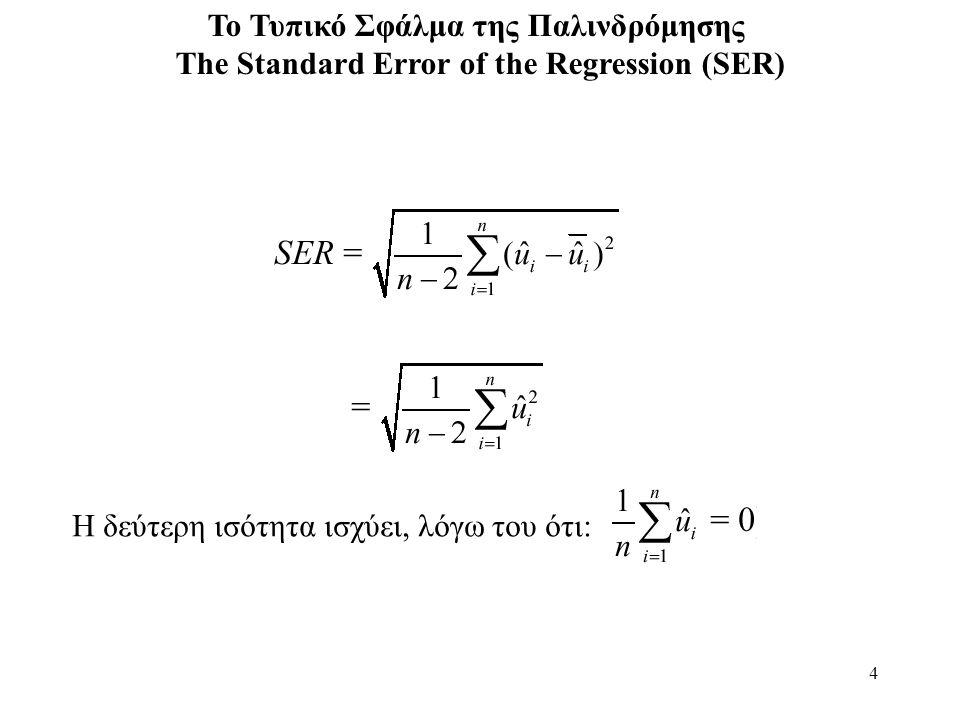4 Το Τυπικό Σφάλμα της Παλινδρόμησης The Standard Error of the Regression (SER) H δεύτερη ισότητα ισχύει, λόγω του ότι: