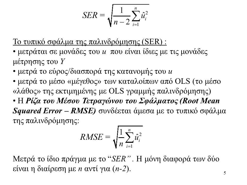5 To τυπικό σφάλμα της παλινδρόμησης (SER) : • μετράται σε μονάδες του u που είναι ίδιες με τις μονάδες μέτρησης του Y • μετρά το εύρος/διασπορά της κ