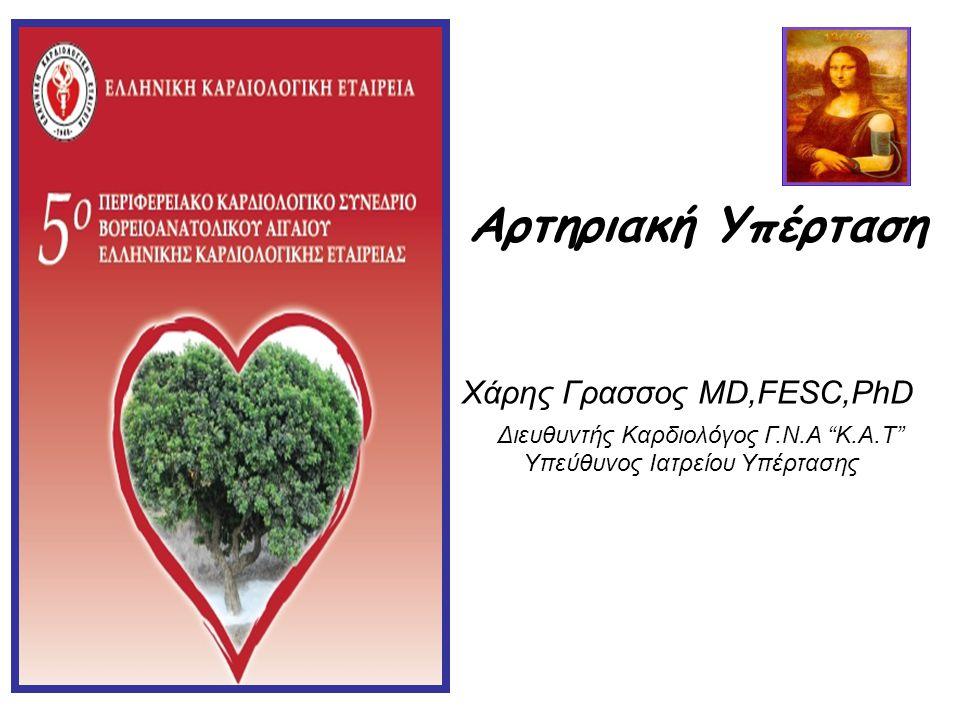 "Aρτηριακή Υπέρταση Χάρης Γρασσος MD,FESC,PhD Διευθυντής Καρδιολόγος Γ.Ν.Α ""K.Α.Τ"" Yπεύθυνος Ιατρείου Υπέρτασης"