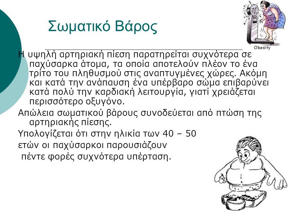 Σωματικό Βάρος Η υψηλή αρτηριακή πίεση παρατηρείται συχνότερα σε παχύσαρκα άτομα, τα οποία αποτελούν πλέον το ένα τρίτο του πληθυσμού στις αναπτυγμένε