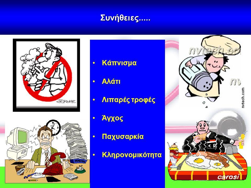 Συνήθειες..... •Κάπνισμα •Αλάτι •Λιπαρές τροφές •Άγχος •Παχυσαρκία •Κληρονομικότητα