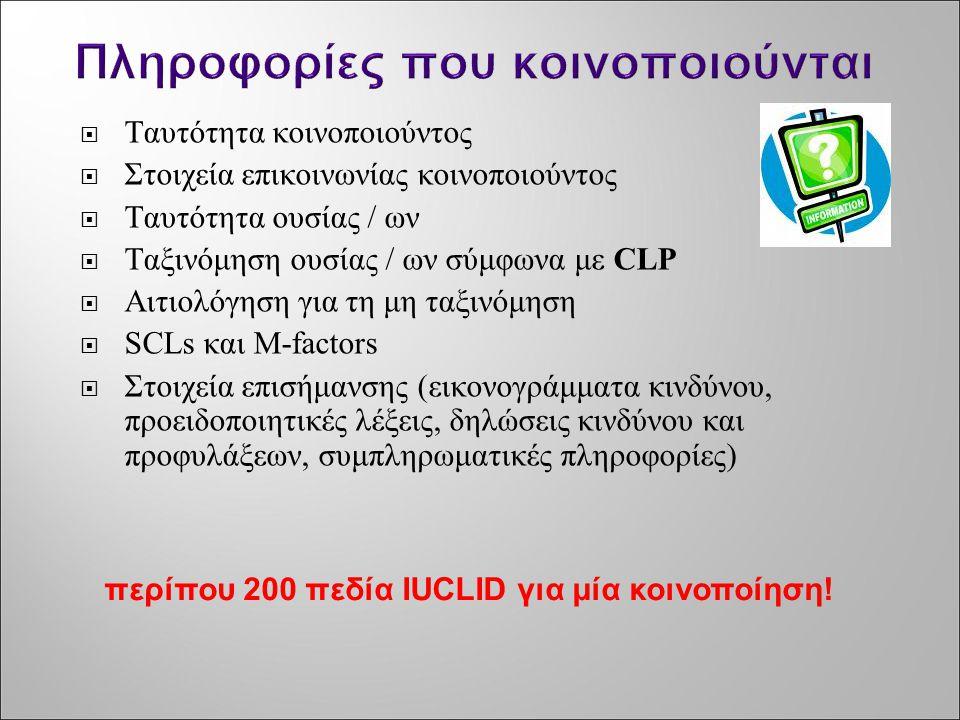  Ταυτότητα κοινοποιούντος  Στοιχεία επικοινωνίας κοινοποιούντος  Ταυτότητα ουσίας / ων  Ταξινόμηση ουσίας / ων σύμφωνα με CLP  Αιτιολόγηση για τη