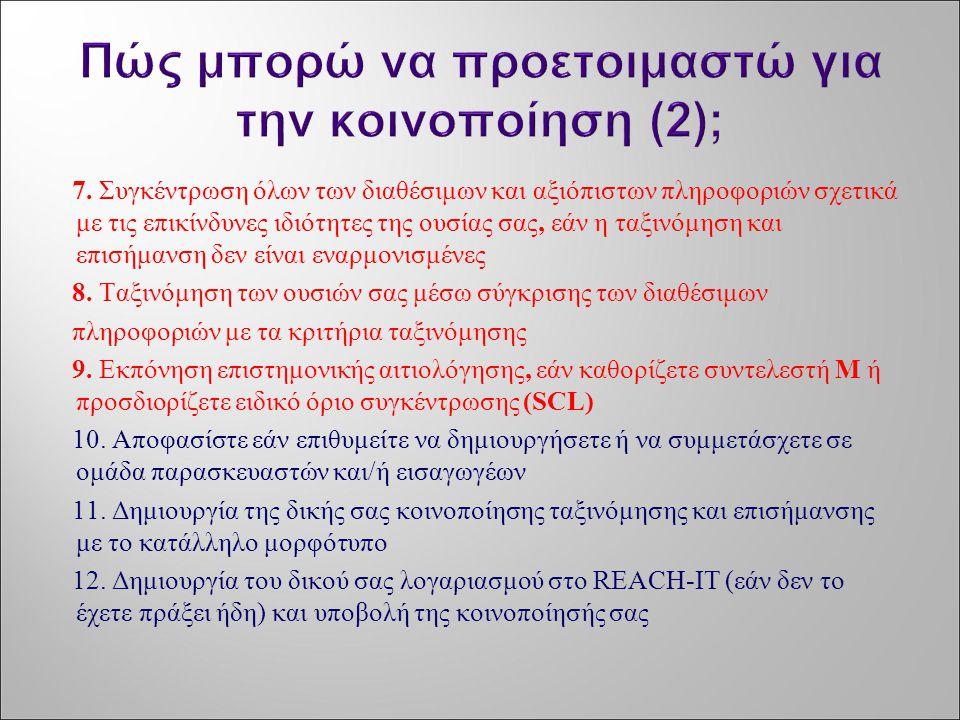 7. Συγκέντρωση όλων των διαθέσιμων και αξιόπιστων πληροφοριών σχετικά με τις επικίνδυνες ιδιότητες της ουσίας σας, εάν η ταξινόμηση και επισήμανση δεν