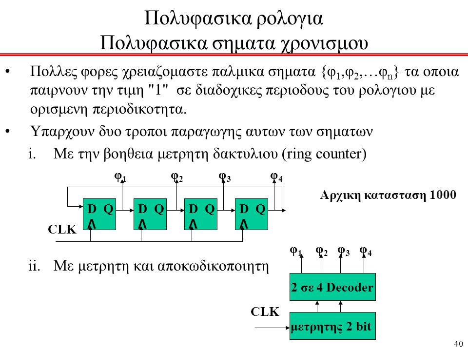 40 Πολυφασικα ρολογια Πολυφασικα σηματα χρονισμου •Πολλες φορες χρειαζομαστε παλμικα σηματα {φ 1,φ 2,…φ n } τα οποια παιρνουν την τιμη 1 σε διαδοχικες περιοδους του ρολογιου με ορισμενη περιοδικοτητα.