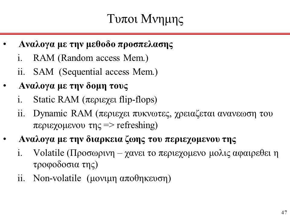 47 Τυποι Μνημης •Αναλογα με την μεθοδο προσπελασης i.RAM (Random access Mem.) ii.SAM (Sequential access Mem.) •Αναλογα με την δομη τους i.Static RAM (περιεχει flip-flops) ii.Dynamic RAM (περιεχει πυκνωτες, χρειαζεται ανανεωση του περιεχομενου της => refreshing) •Aναλογα με την διαρκεια ζωης του περιεχομενου της i.Volatile (Προσωρινη – χανει το περιεχομενο μολις αφαιρεθει η τροφοδοσια της) ii.Non-volatile (μονιμη αποθηκευση)
