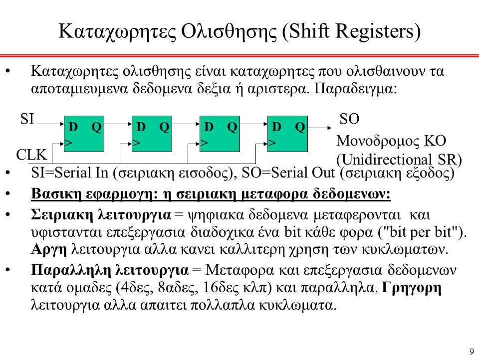 30 Συγχρονος μετρητης BCD (δεκαδικος) •Μετραει από το 0000 στο 1001 και ξανα στο 0000 •Αρκετα πολυπλοκη δομη.