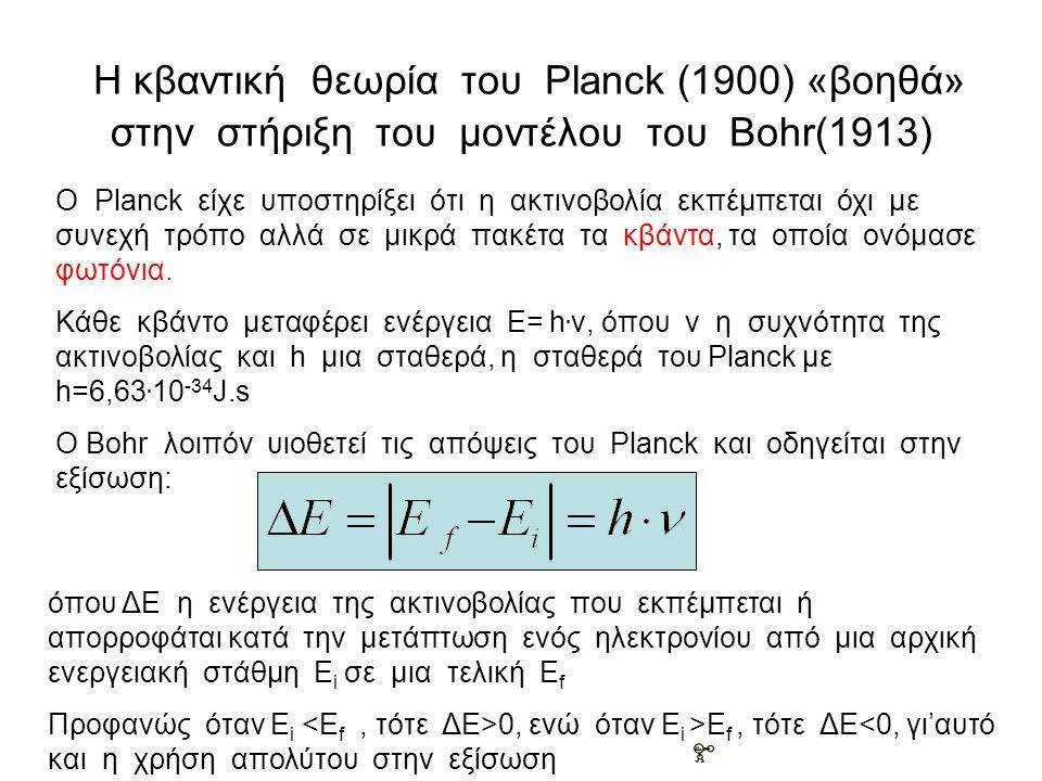 Η κβαντική θεωρία του Planck (1900) «βοηθά» στην στήριξη του μοντέλου του Bohr(1913) O Planck είχε υποστηρίξει ότι η ακτινοβολία εκπέμπεται όχι με συνεχή τρόπο αλλά σε μικρά πακέτα τα κβάντα, τα οποία ονόμασε φωτόνια.