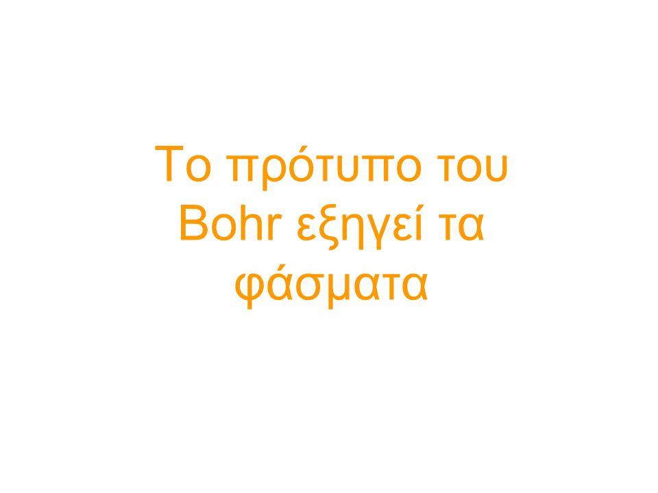Το μοντέλο του Bohr «πάσχει» Η θεωρία του Bohr γνώρισε μεγάλη επιτυχία καθώς εξηγούσε επιτυχώς τα φάσματα εκπομπής του υδρογόνου.