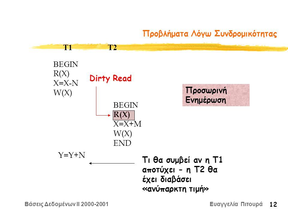Βάσεις Δεδομένων II 2000-2001 Ευαγγελία Πιτουρά 12 Προβλήματα Λόγω Συνδρομικότητας BEGIN R(X) X=Χ-N W(X) T1 T2 Προσωρινή Ενημέρωση BEGIN R(X) X=Χ+M W(X) END Y=Y+N Τι θα συμβεί αν η Τ1 αποτύχει - η Τ2 θα έχει διαβάσει «ανύπαρκτη τιμή» Dirty Read