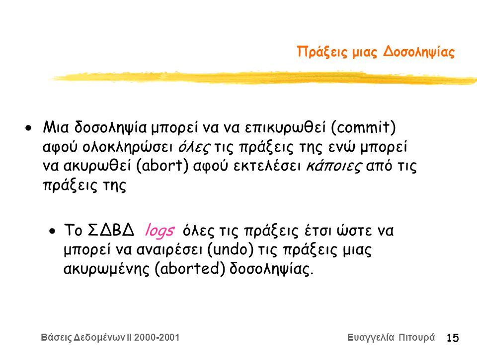 Βάσεις Δεδομένων II 2000-2001 Ευαγγελία Πιτουρά 15 Πράξεις μιας Δοσοληψίας  Μια δοσοληψία μπορεί να να επικυρωθεί (commit) αφού ολοκληρώσει όλες τις πράξεις της ενώ μπορεί να ακυρωθεί (abort) αφού εκτελέσει κάποιες από τις πράξεις της  Το ΣΔΒΔ logs όλες τις πράξεις έτσι ώστε να μπορεί να αναιρέσει (undo) τις πράξεις μιας ακυρωμένης (aborted) δοσοληψίας.