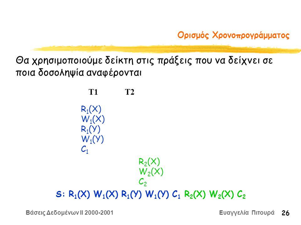 Βάσεις Δεδομένων II 2000-2001 Ευαγγελία Πιτουρά 26 Ορισμός Χρονοπρογράμματος R 1 (X) W 1 (X) R 1 (Y) W 1 (Y) C 1 R 2 (X) W 2 (X) C 2 T1 T2 Θα χρησιμοποιούμε δείκτη στις πράξεις που να δείχνει σε ποια δοσοληψία αναφέρoνται S: R 1 (X) W 1 (X) R 1 (Y) W 1 (Y) C 1 R 2 (X) W 2 (X) C 2