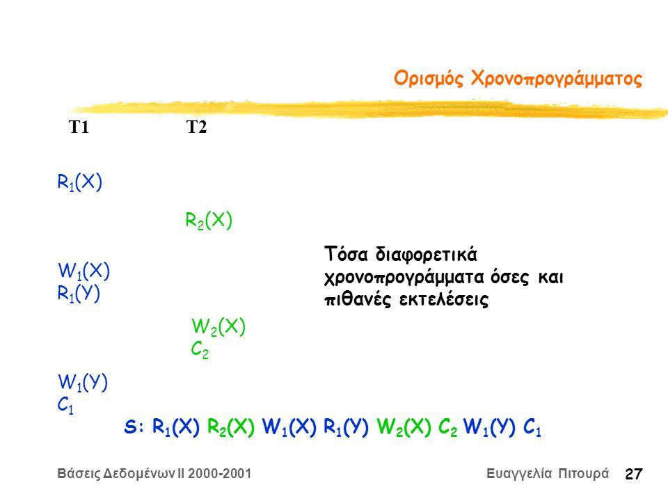 Βάσεις Δεδομένων II 2000-2001 Ευαγγελία Πιτουρά 27 Ορισμός Χρονοπρογράμματος R 1 (X) W 2 (X) C 2 T1 T2 W 1 (X) R 1 (Y) R 2 (X) W 1 (Y) C 1 S: R 1 (X) R 2 (X) W 1 (X) R 1 (Y) W 2 (X) C 2 W 1 (Y) C 1 Τόσα διαφορετικά χρονοπρογράμματα όσες και πιθανές εκτελέσεις