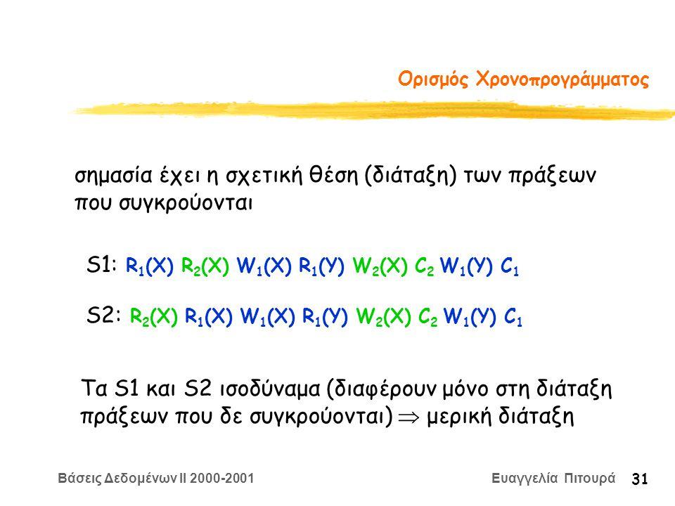Βάσεις Δεδομένων II 2000-2001 Ευαγγελία Πιτουρά 31 Ορισμός Χρονοπρογράμματος σημασία έχει η σχετική θέση (διάταξη) των πράξεων που συγκρούονται S1: R 1 (X) R 2 (X) W 1 (X) R 1 (Y) W 2 (X) C 2 W 1 (Y) C 1 S2: R 2 (X) R 1 (X) W 1 (X) R 1 (Y) W 2 (X) C 2 W 1 (Y) C 1 Τα S1 και S2 ισοδύναμα (διαφέρουν μόνο στη διάταξη πράξεων που δε συγκρούονται)  μερική διάταξη