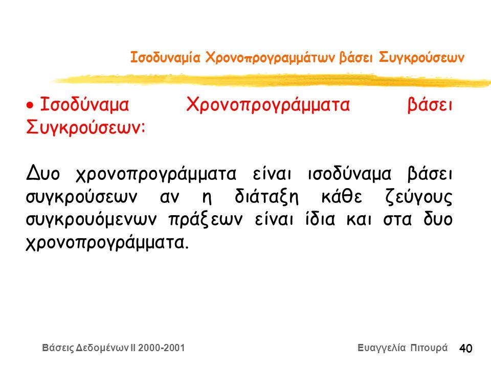 Βάσεις Δεδομένων II 2000-2001 Ευαγγελία Πιτουρά 40 Ισοδυναμία Χρονοπρογραμμάτων βάσει Συγκρούσεων  Ισοδύναμα Χρονοπρογράμματα βάσει Συγκρούσεων: Δυο χρονοπρογράμματα είναι ισοδύναμα βάσει συγκρούσεων αν η διάταξη κάθε ζεύγους συγκρουόμενων πράξεων είναι ίδια και στα δυο χρονοπρογράμματα.
