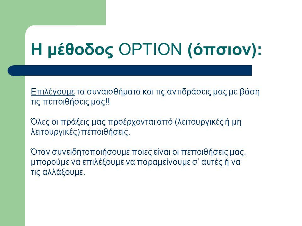 Η μέθοδος OPTION (όπσιον): Επιλέγουμε τα συναισθήματα και τις αντιδράσεις μας με βάση τις πεποιθήσεις μας!.