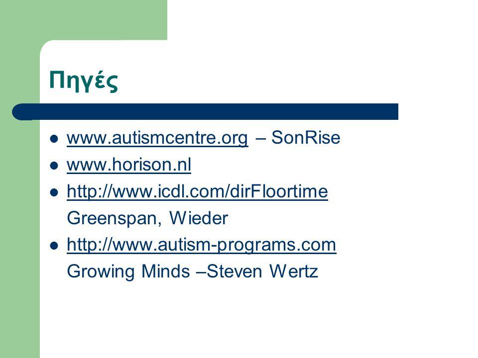 Πηγές  www.autismcentre.org – SonRise www.autismcentre.org  www.horison.nl www.horison.nl  http://www.icdl.com/dirFloortime http://www.icdl.com/dirFloortime Greenspan, Wieder  http://www.autism-programs.com http://www.autism-programs.com Growing Minds –Steven Wertz