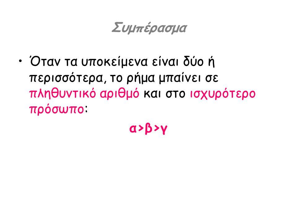 Συμπέρασμα •Όταν τα υποκείμενα είναι δύο ή περισσότερα, το ρήμα μπαίνει σε πληθυντικό αριθμό και στο ισχυρότερο πρόσωπο: α>β>γ