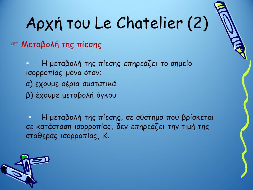 Αρχή του Le Chatelier (2)  Μεταβολή της πίεσης  Η μεταβολή της πίεσης επηρεάζει το σημείο ισορροπίας μόνο όταν: α) έχουμε αέρια συστατικά β) έχουμε