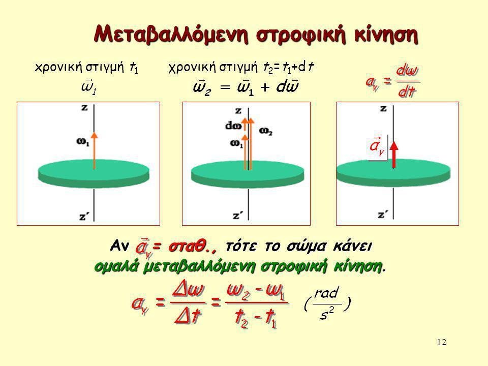 12 xρονική στιγμή t 1 χρονική στιγμή t 2 =t 1 +dt Μεταβαλλόμενη στροφική κίνηση Αν = σταθ., τότε το σώμα κάνει ομαλά μεταβαλλόμενη στροφική κίνηση.