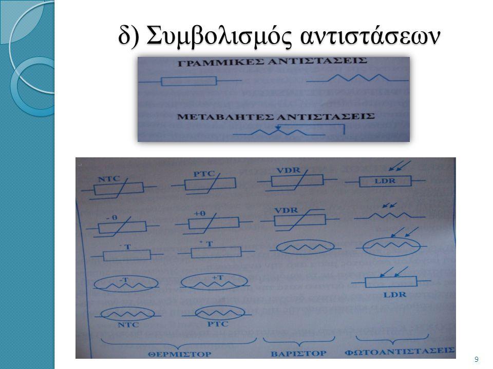 δ) Συμβολισμός αντιστάσεων 9