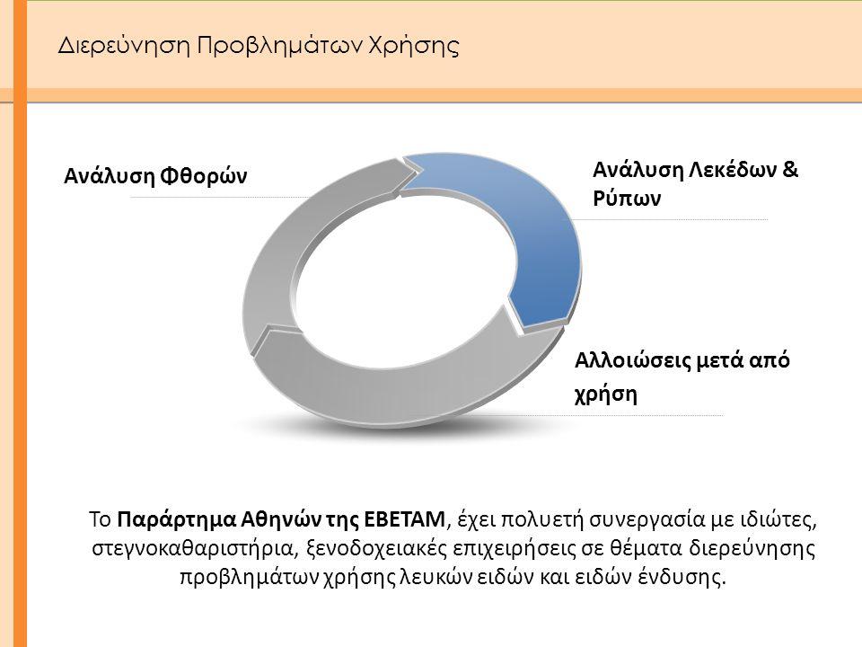 Ανάλυση Φθορών Ανάλυση Λεκέδων & Ρύπων Αλλοιώσεις μετά από χρήση Το Παράρτημα Αθηνών της ΕΒΕΤΑΜ, έχει πολυετή συνεργασία με ιδιώτες, στεγνοκαθαριστήρι