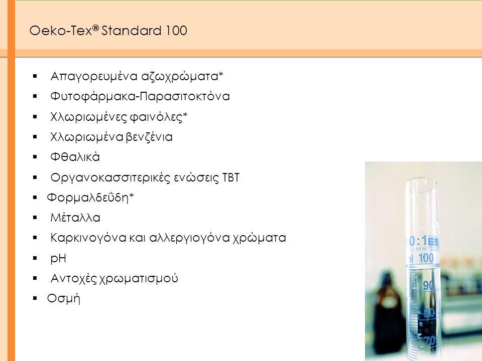  Απαγορευμένα αζωχρώματα*  Φυτοφάρμακα-Παρασιτοκτόνα  Χλωριωμένες φαινόλες*  Χλωριωμένα βενζένια  Φθαλικά  Οργανοκασσιτερικές ενώσεις ΤΒΤ  Φορμ