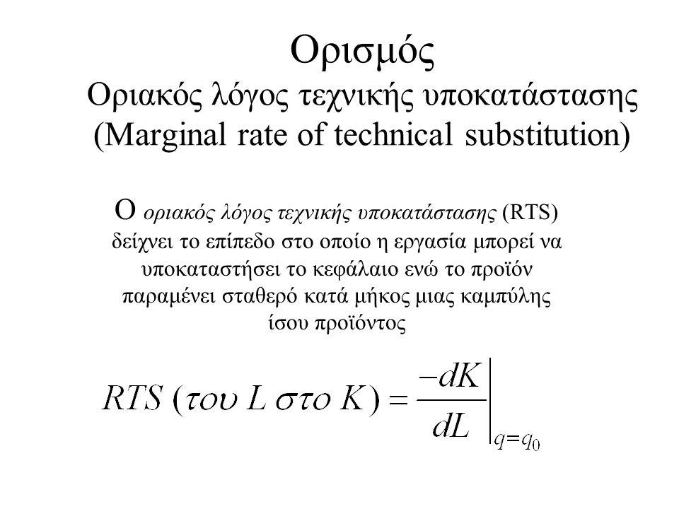 Ορισμός Οριακός λόγος τεχνικής υποκατάστασης (Marginal rate of technical substitution) Ο οριακός λόγος τεχνικής υποκατάστασης (RTS) δείχνει το επίπεδο