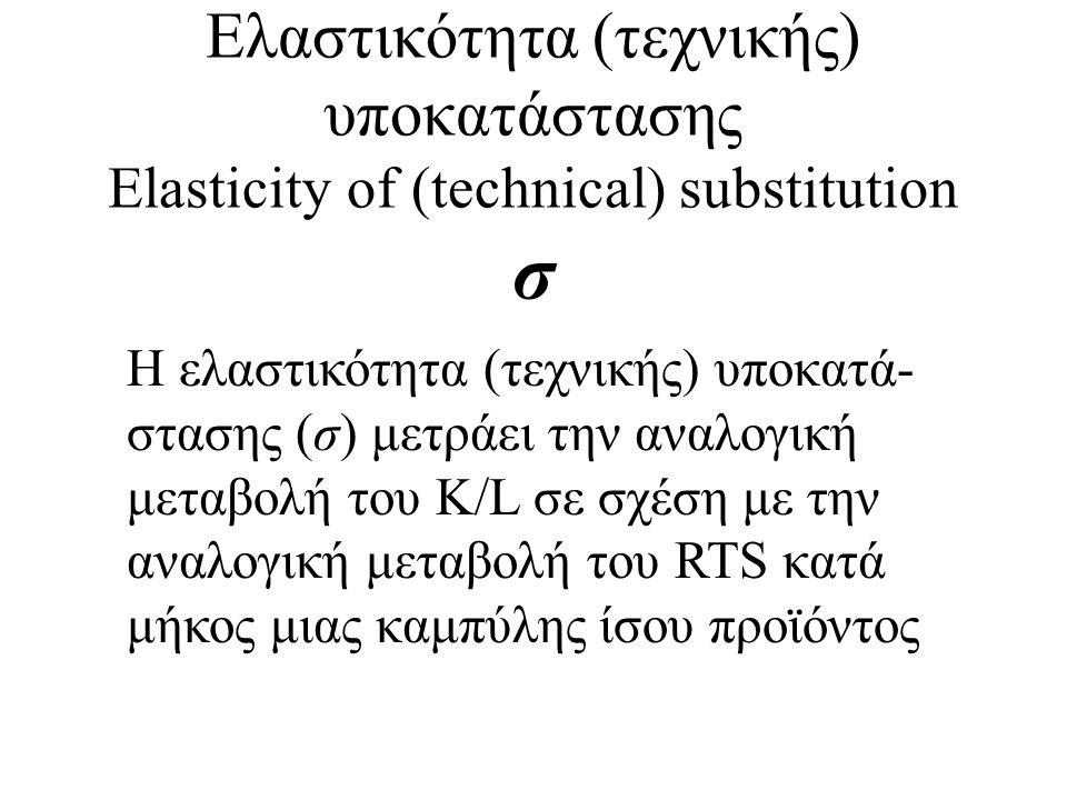 Ελαστικότητα (τεχνικής) υποκατάστασης Elasticity of (technical) substitution σ H ελαστικότητα (τεχνικής) υποκατά- στασης (σ) μετράει την αναλογική μετ