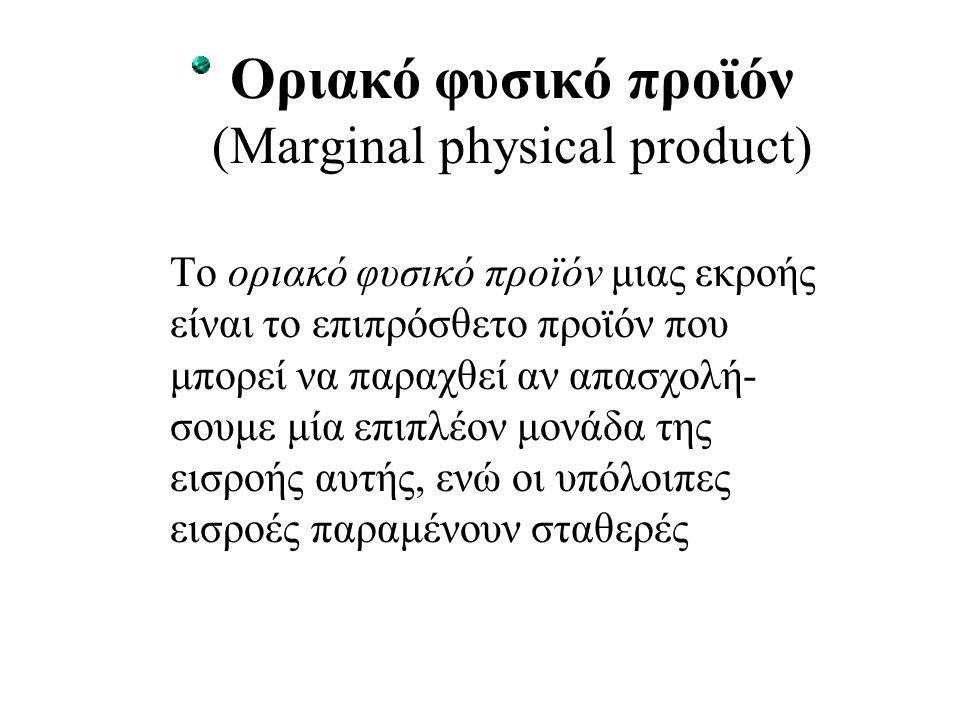 Οριακό φυσικό προϊόν (Marginal physical product) Το οριακό φυσικό προϊόν μιας εκροής είναι το επιπρόσθετο προϊόν που μπορεί να παραχθεί αν απασχολή- σ