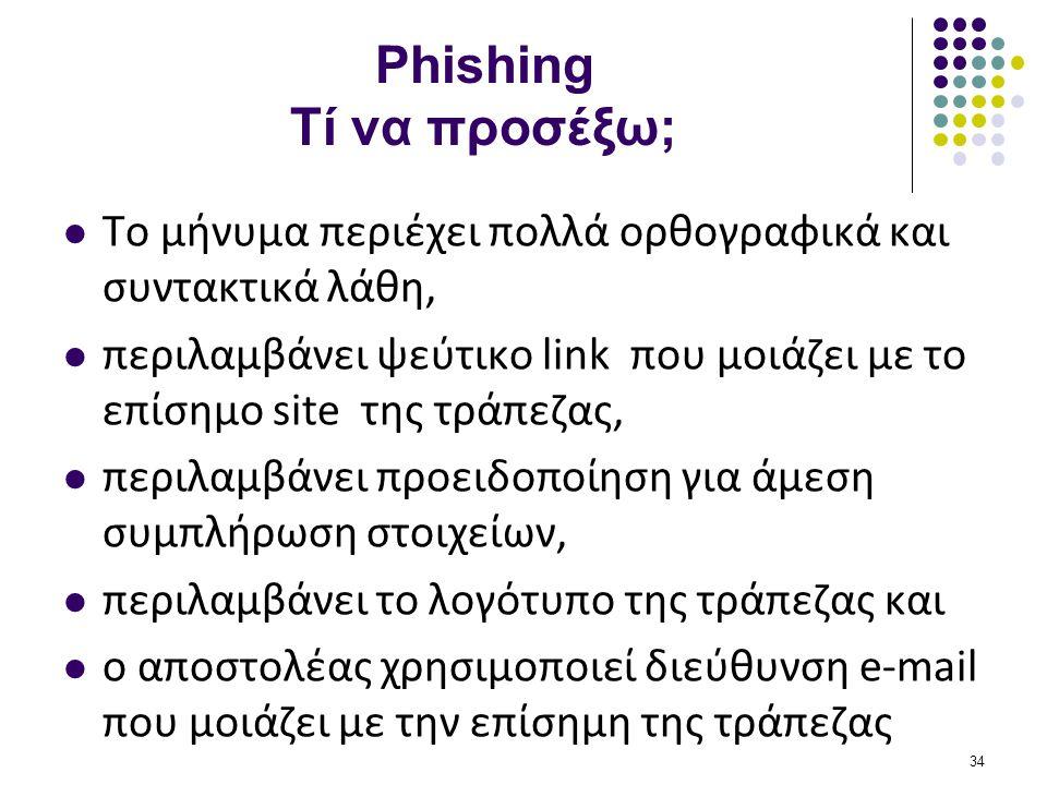 Phishing Τί να προσέξω;  Το μήνυμα περιέχει πολλά ορθογραφικά και συντακτικά λάθη,  περιλαμβάνει ψεύτικο link που μοιάζει με το επίσημο site της τρά