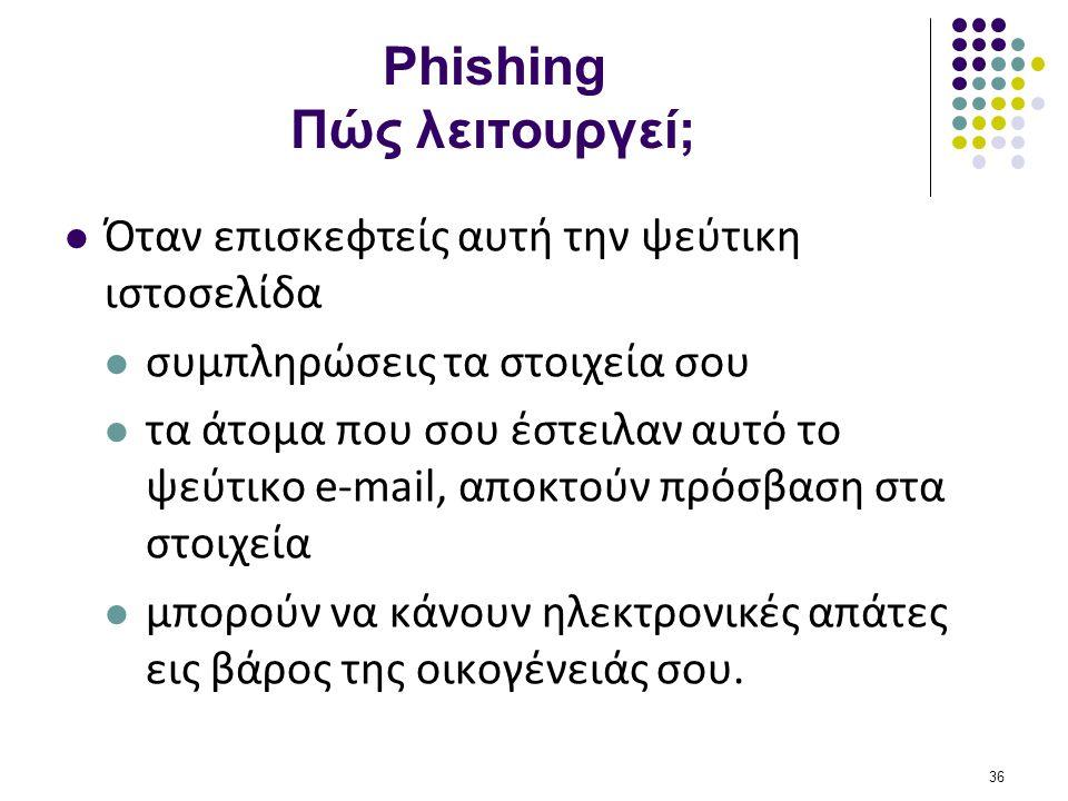 Phishing Πώς λειτουργεί;  Όταν επισκεφτείς αυτή την ψεύτικη ιστοσελίδα  συμπληρώσεις τα στοιχεία σου  τα άτομα που σου έστειλαν αυτό το ψεύτικο e-m