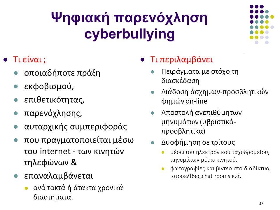 Ψηφιακή παρενόχληση cyberbullying  Τι είναι ;  οποιαδήποτε πράξη  εκφοβισμού,  επιθετικότητας,  παρενόχλησης,  αυταρχικής συμπεριφοράς  που πρα