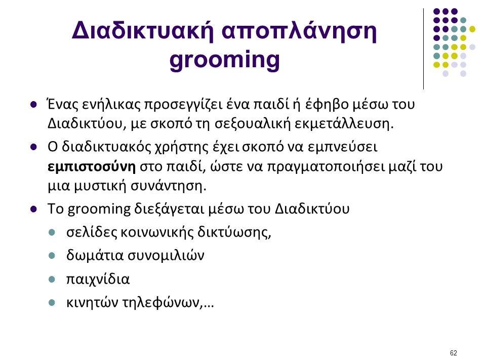Διαδικτυακή αποπλάνηση grooming  Ένας ενήλικας προσεγγίζει ένα παιδί ή έφηβο μέσω του Διαδικτύου, με σκοπό τη σεξουαλική εκμετάλλευση.  Ο διαδικτυακ