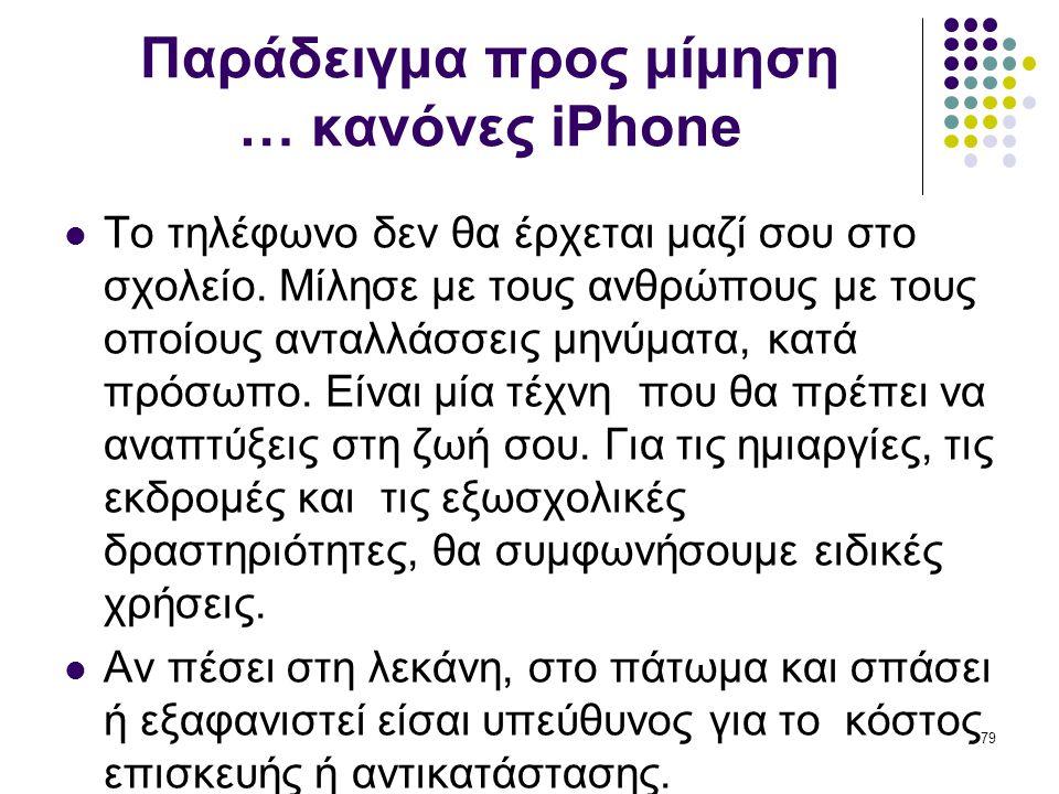 Παράδειγμα προς μίμηση … κανόνες iPhone  Το τηλέφωνο δεν θα έρχεται μαζί σου στο σχολείο. Μίλησε με τους ανθρώπους με τους οποίους ανταλλάσσεις μηνύμ