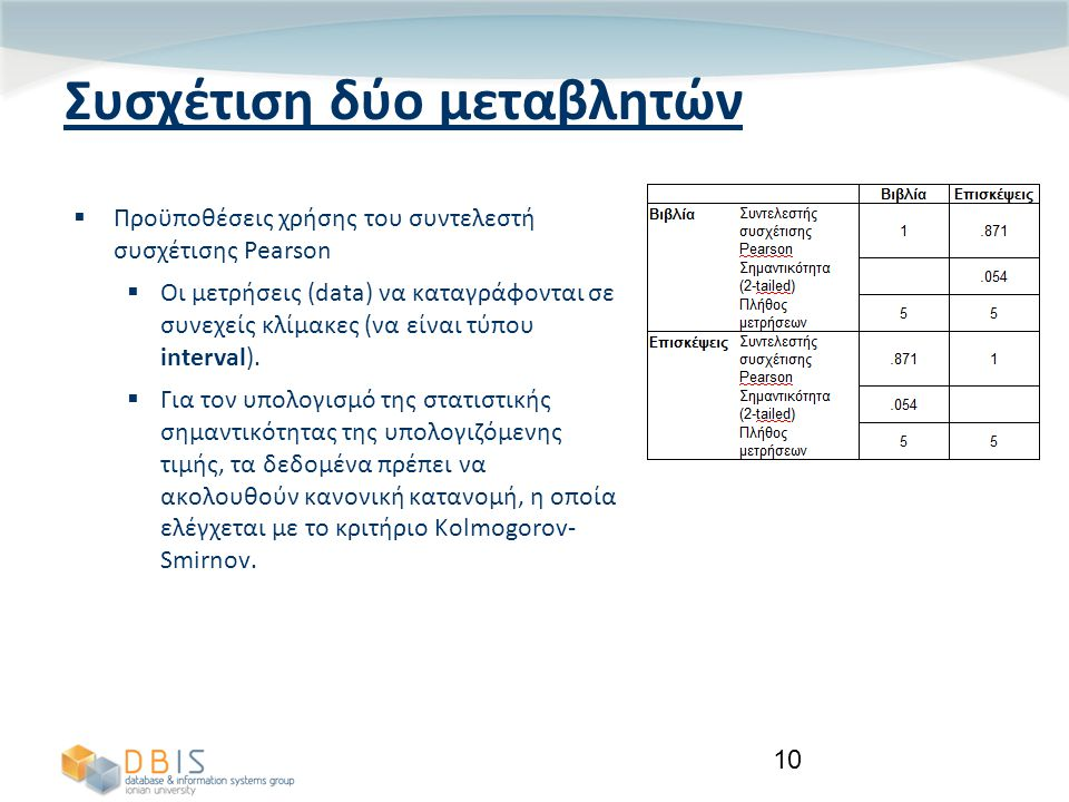 10 Συσχέτιση δύο μεταβλητών  Προϋποθέσεις χρήσης του συντελεστή συσχέτισης Pearson  Οι μετρήσεις (data) να καταγράφονται σε συνεχείς κλίμακες (να είναι τύπου interval).