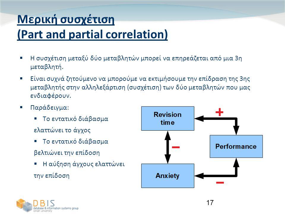 17 Μερική συσχέτιση (Part and partial correlation)  Η συσχέτιση μεταξύ δύο μεταβλητών μπορεί να επηρεάζεται από μια 3η μεταβλητή.