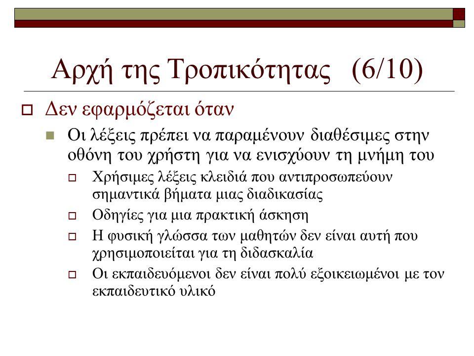 Αρχή της Τροπικότητας (6/10)  Δεν εφαρμόζεται όταν  Οι λέξεις πρέπει να παραμένουν διαθέσιμες στην οθόνη του χρήστη για να ενισχύουν τη μνήμη του 