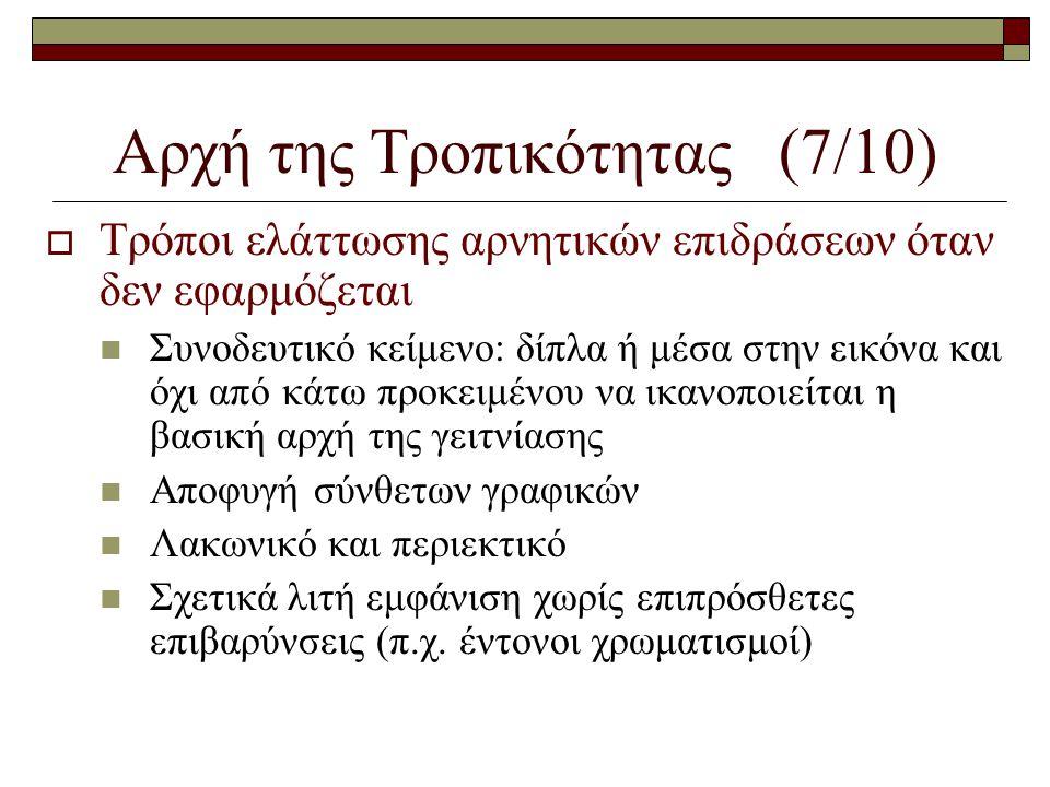 Αρχή της Τροπικότητας (7/10)  Τρόποι ελάττωσης αρνητικών επιδράσεων όταν δεν εφαρμόζεται  Συνοδευτικό κείμενο: δίπλα ή μέσα στην εικόνα και όχι από