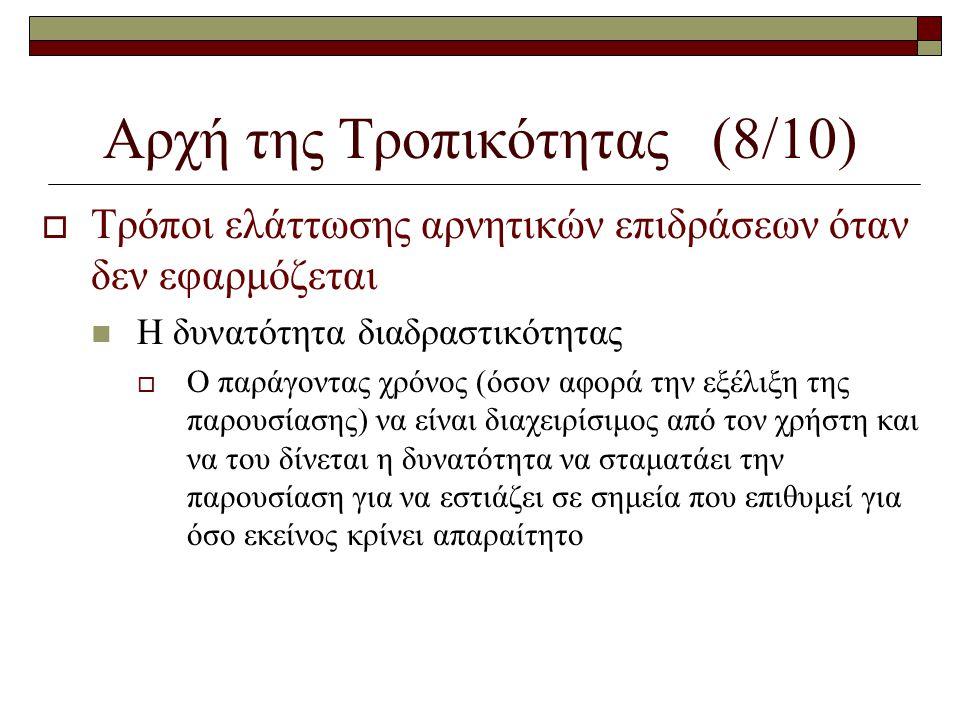 Αρχή της Τροπικότητας (8/10)  Τρόποι ελάττωσης αρνητικών επιδράσεων όταν δεν εφαρμόζεται  Η δυνατότητα διαδραστικότητας  Ο παράγοντας χρόνος (όσον
