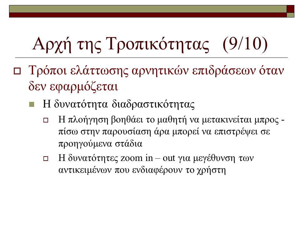 Αρχή της Τροπικότητας (9/10)  Τρόποι ελάττωσης αρνητικών επιδράσεων όταν δεν εφαρμόζεται  Η δυνατότητα διαδραστικότητας  Η πλοήγηση βοηθάει το μαθη