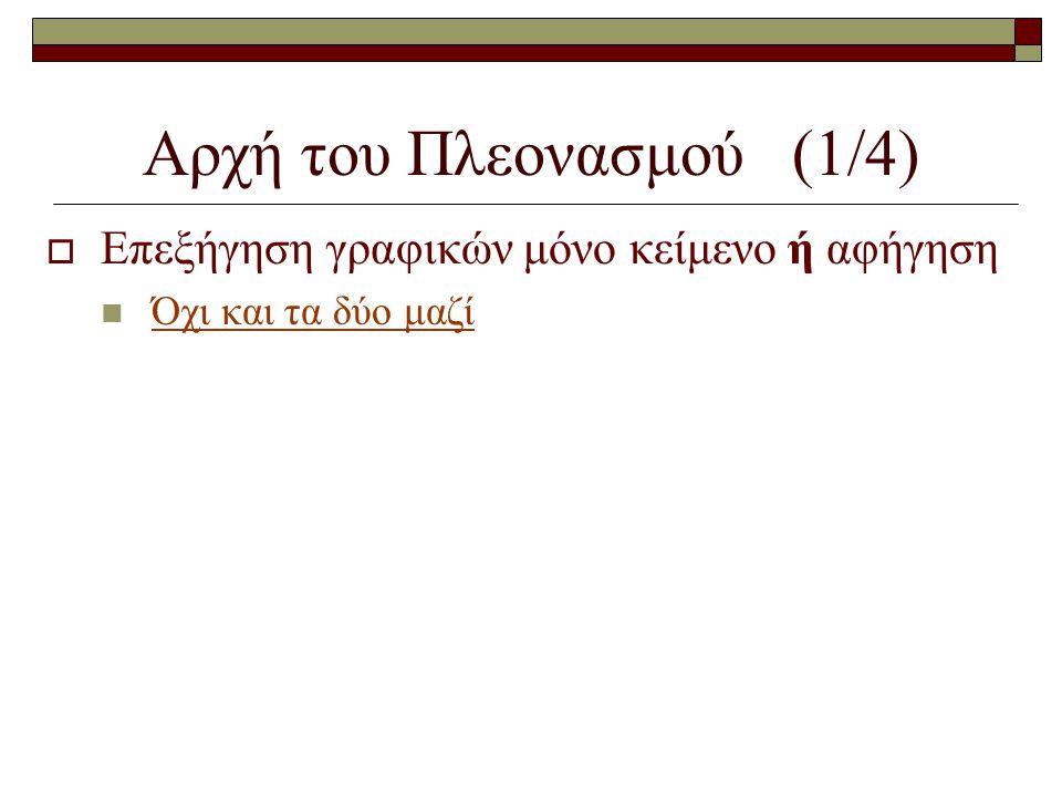 Αρχή του Πλεονασμού (1/4)  Επεξήγηση γραφικών μόνο κείμενο ή αφήγηση  Όχι και τα δύο μαζί
