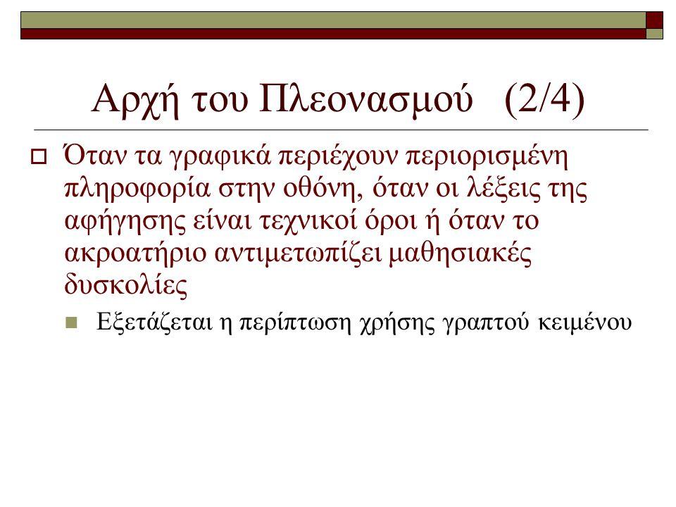 Αρχή του Πλεονασμού (2/4)  Όταν τα γραφικά περιέχουν περιορισμένη πληροφορία στην οθόνη, όταν οι λέξεις της αφήγησης είναι τεχνικοί όροι ή όταν το ακ